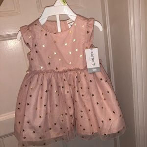 Baby Girl Pink and Gold Star Holiday Dress